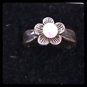 Tarnished Silver Ring with Pearl in Flower